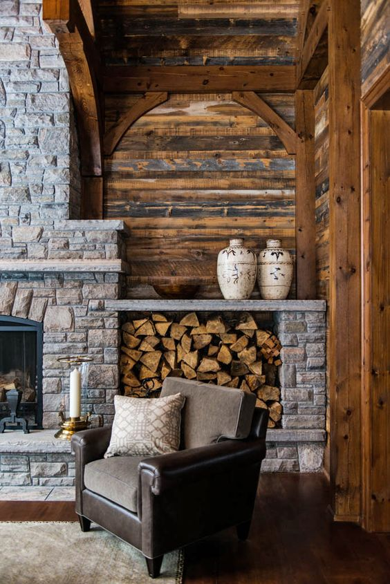 15 Amazing Rustic Stone Fireplace Design Ideas