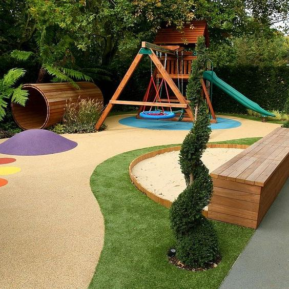 Then This Modern Garden Design Would Be The Best Way To Go Combining Tree Houses Slides And Swing Sets With A Smooth Turf Expertly