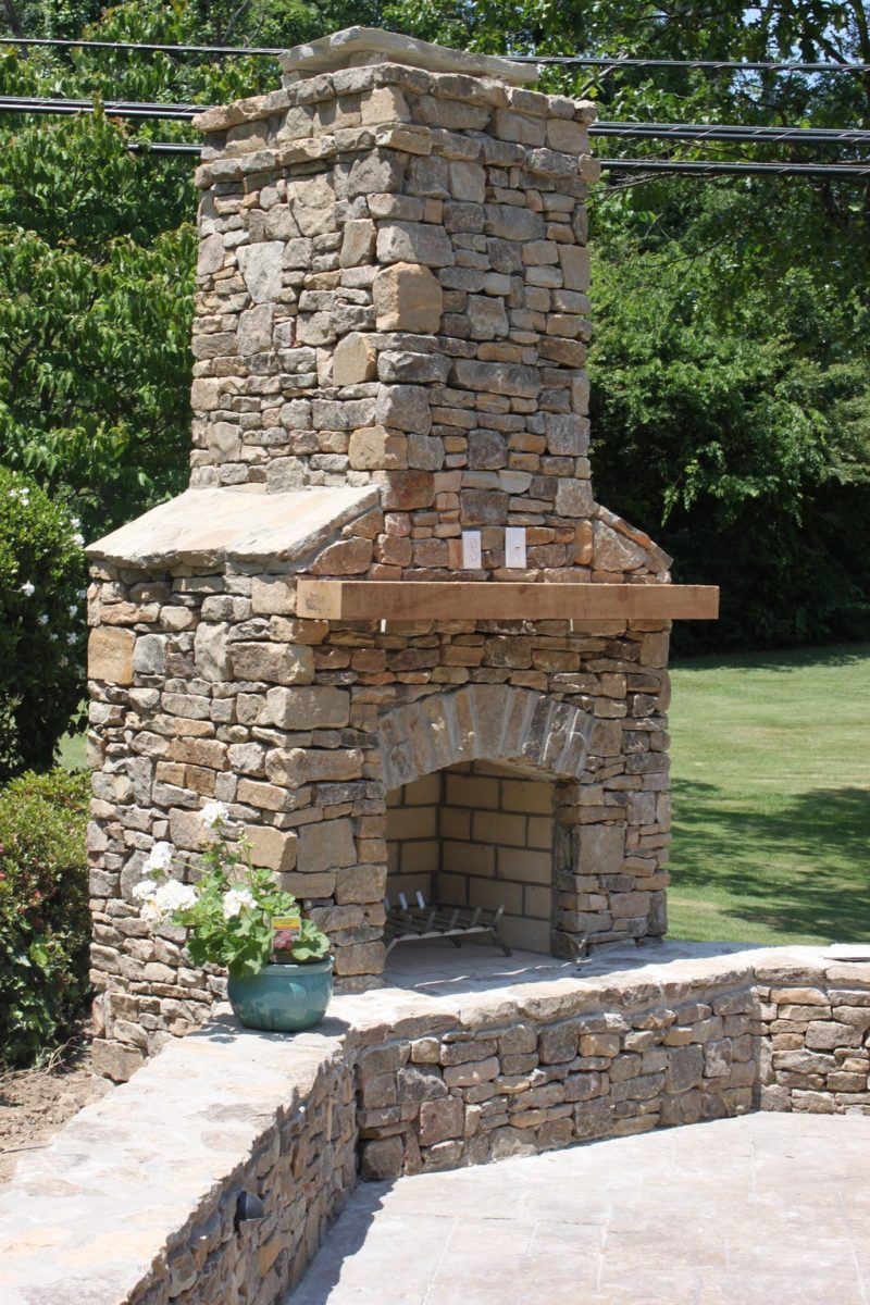 Pre-masoned outdoor fireplace kit