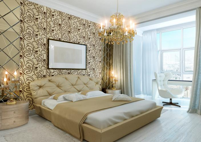 bedroom-with-gold-wall-and-chandelier