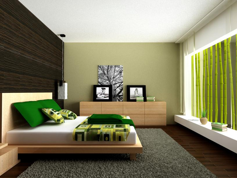 bedroom-with-green-color-theme