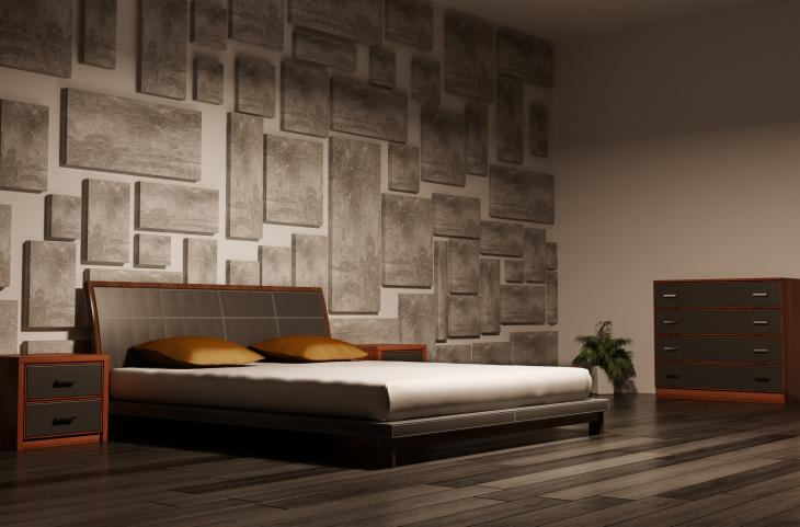 dark-bedroom-with-textured-wall