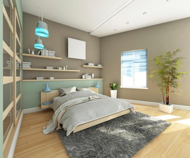 wood-bedroom-with-grey-rug