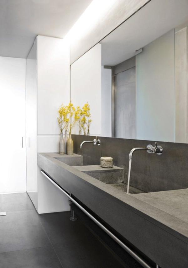 Contemporary Bathroom With Concrete