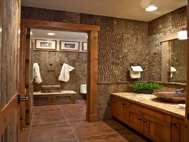 wooden rustic bathroom