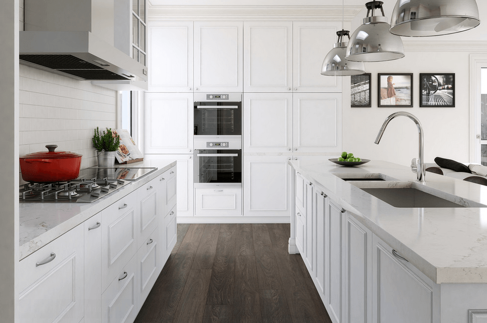Gray And White Kitchen Designs enlarge kitchen in white gray White All The Way