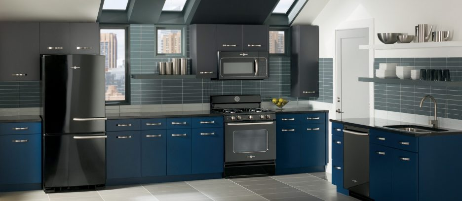 Gray and Blue Kitchen Cabinet