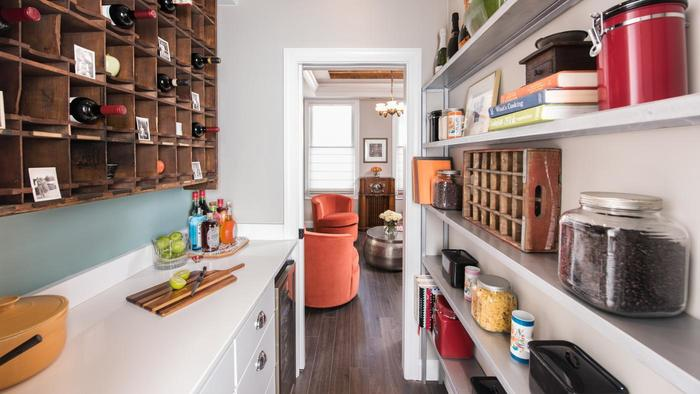 Side kitchen pantry cabinet