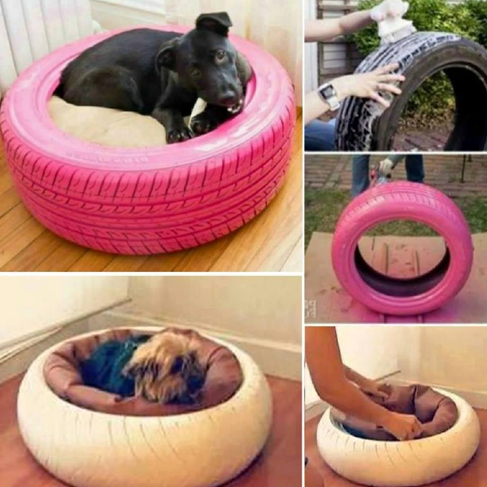 DIY repurposed tyre as a pet bed