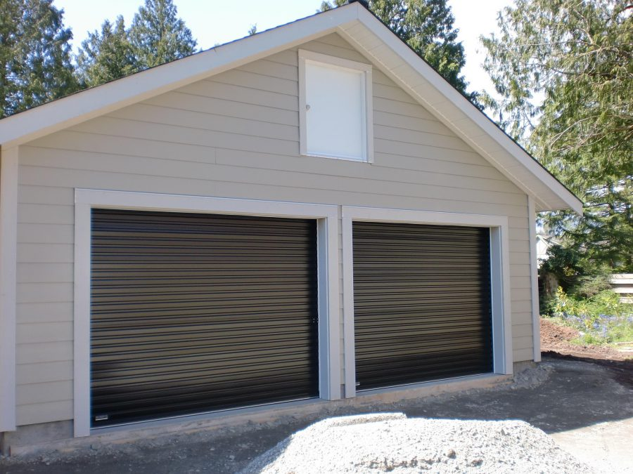 Minimalist Black Double Garage Doors