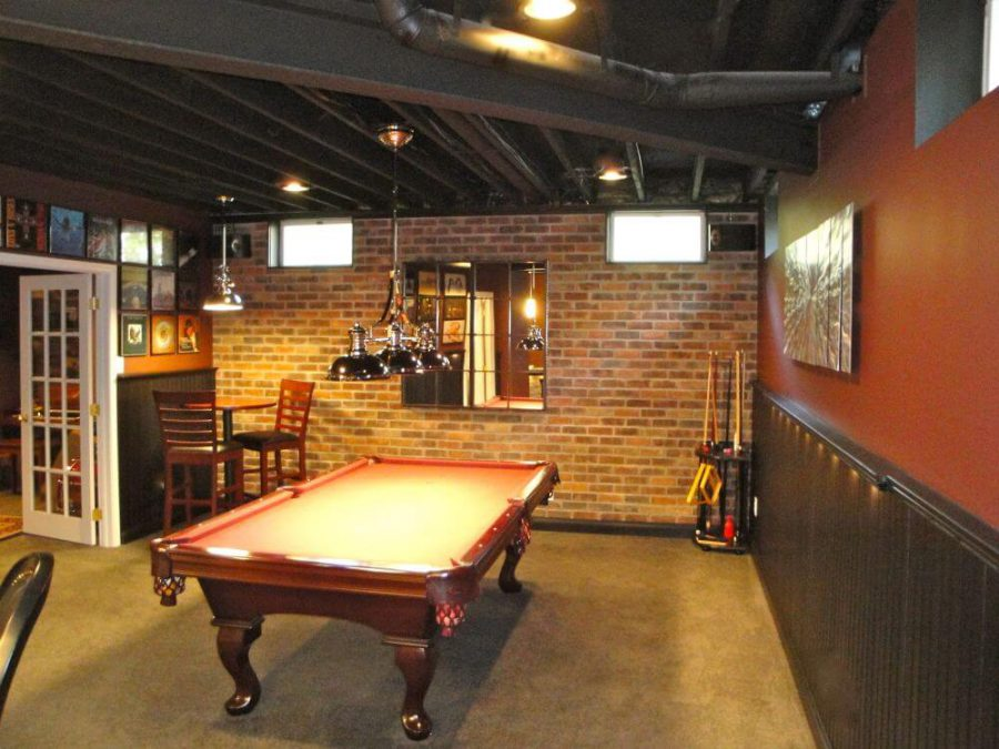 Basement Man Cave With A Billiard Table