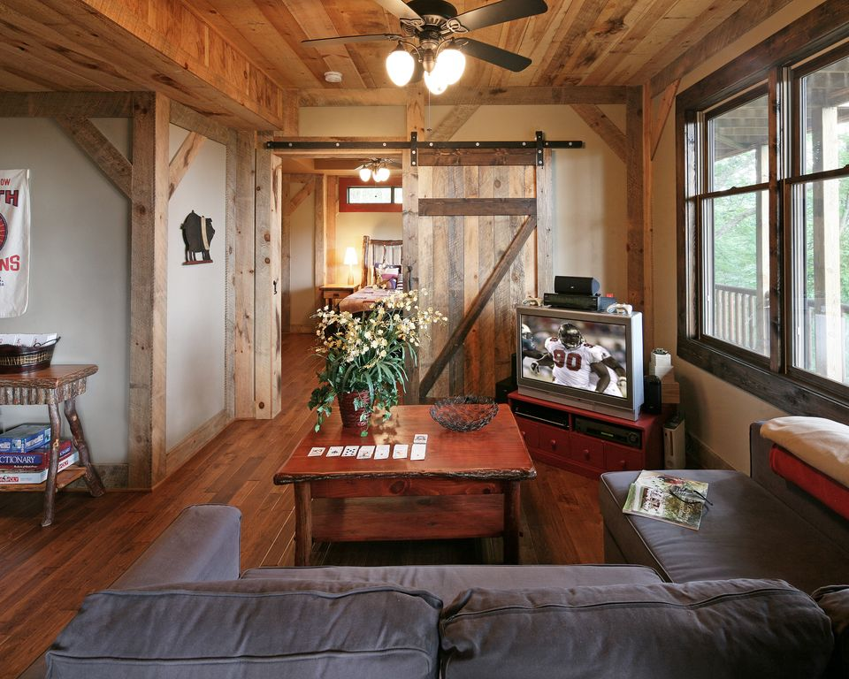 Man Cave With Sliding Barn Door