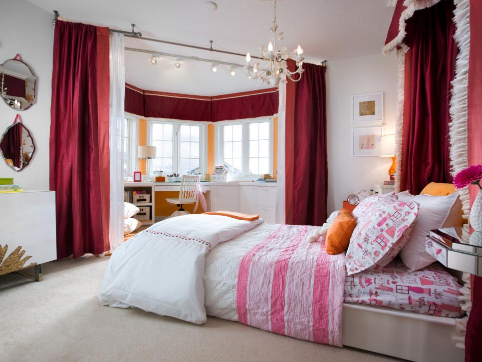 Bedroom With Red Curtains