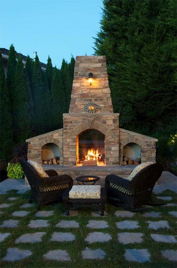 Backyard Fireplace Design