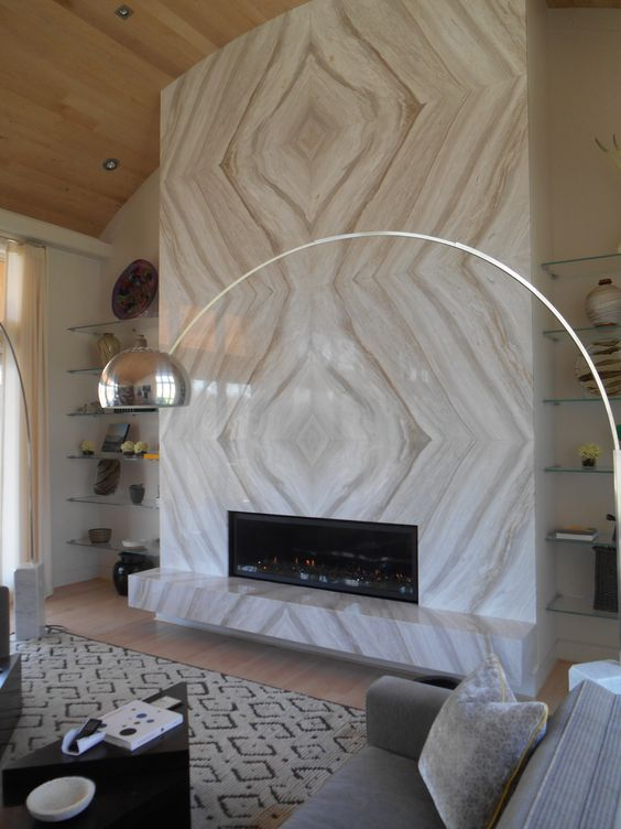 Book Matched Marble Fireplace