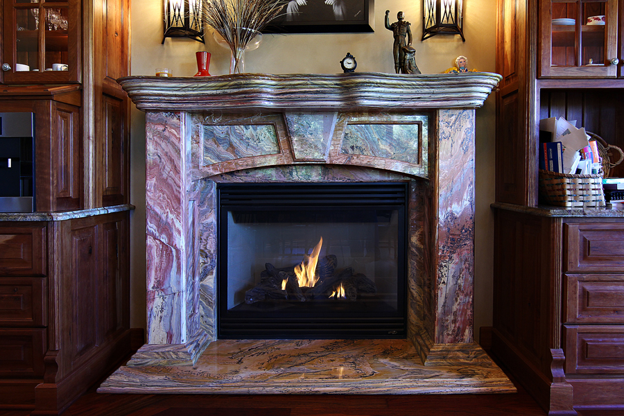 Colorful Marble Fireplace Design