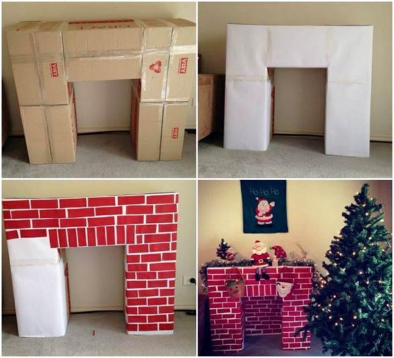 DIY Cardboard Fireplaces