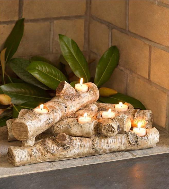 DIY Fireplace Design Idea With Candle