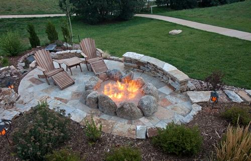 Flagstone Fire Pit Fireplace