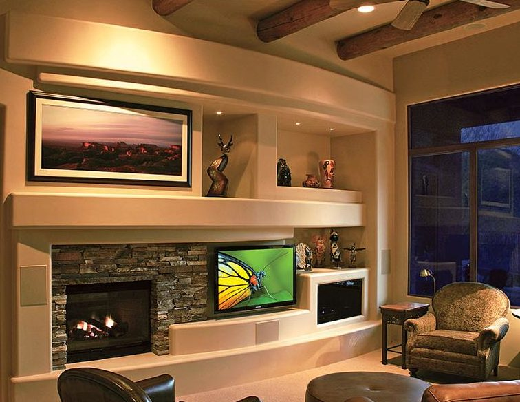 Modern Fireplace With Media Design