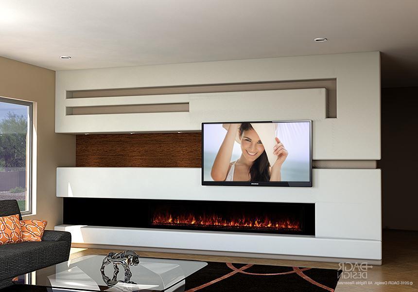 Modern Media Wall Long Fireplace