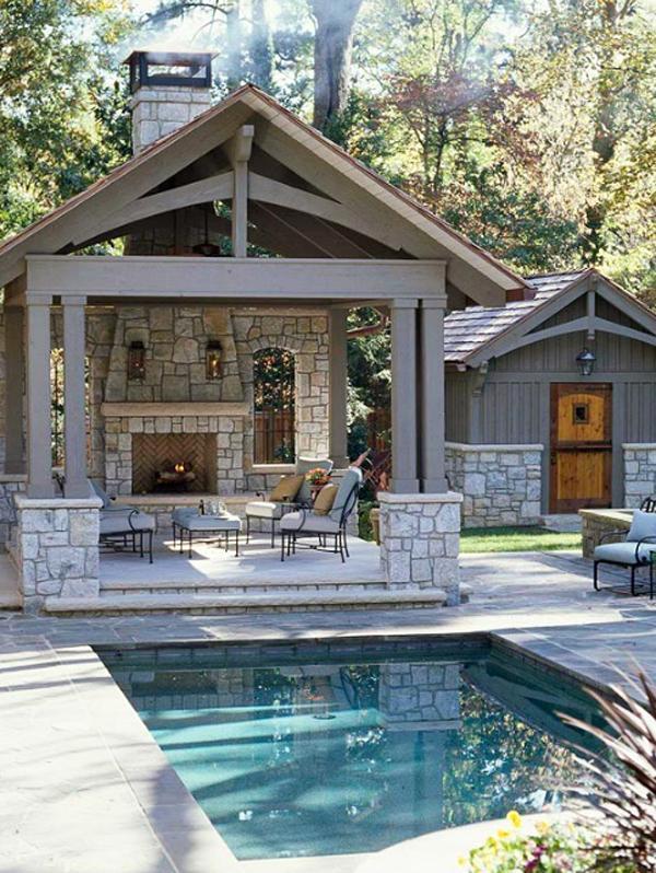 Modern Outdoor Backyard Fireplace