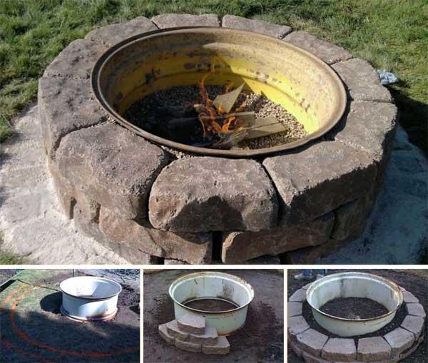 Round Pit Fireplace Design Idea