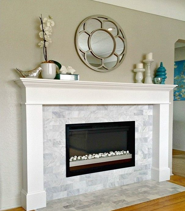 Subway Marble Tile Fireplace