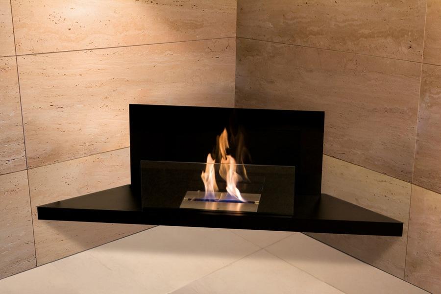 corner ethanol fireplace