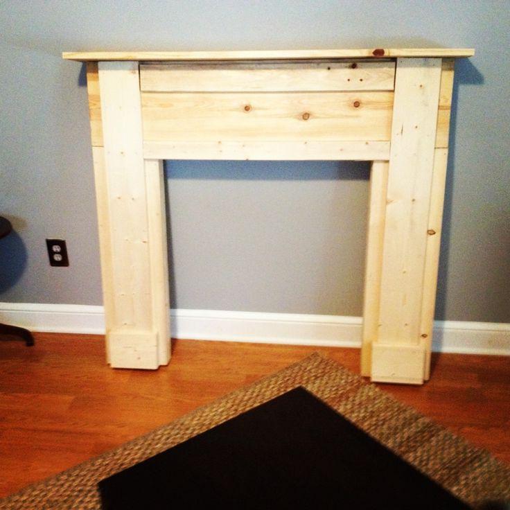 diy wooden fake fireplace mantel