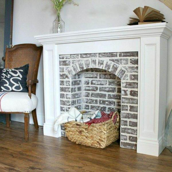 fake cardboard fireplace design