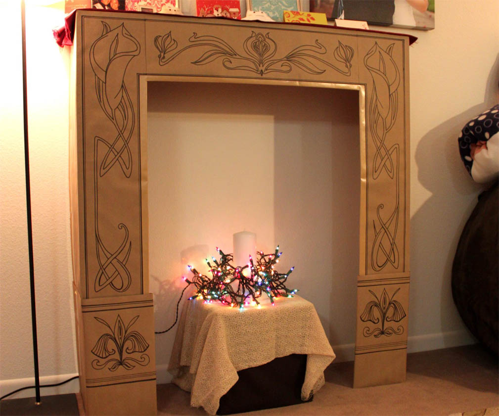 faux fireplace design with cardboard