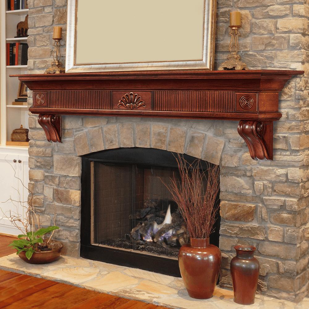 fireplace mantel stone