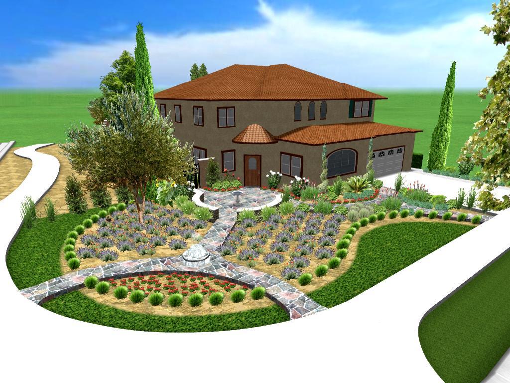 front yard landscape design rocks