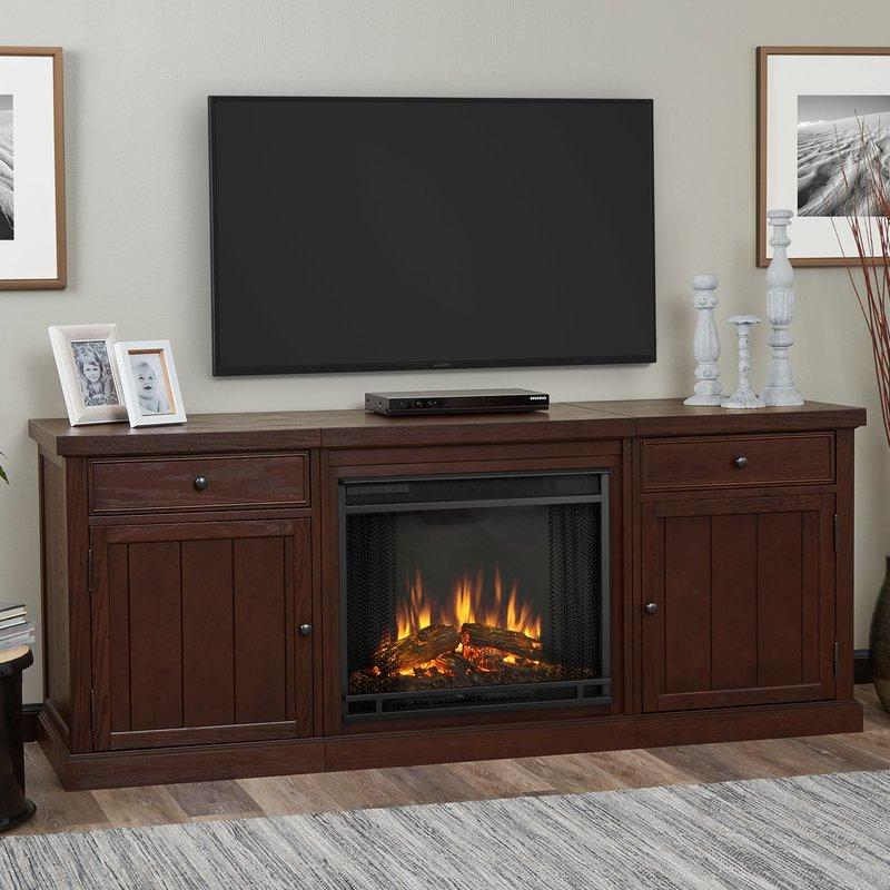 real flame classy entertainment unit with electric fireplace