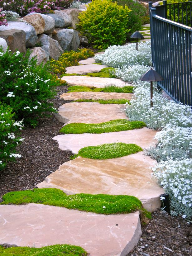 stone walkway garden design ideas.