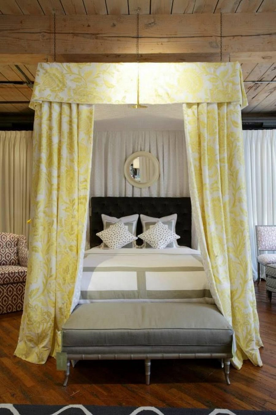 Canopy-Bed-With-High-Headboard-And-Yellow-Fabric-Curtains