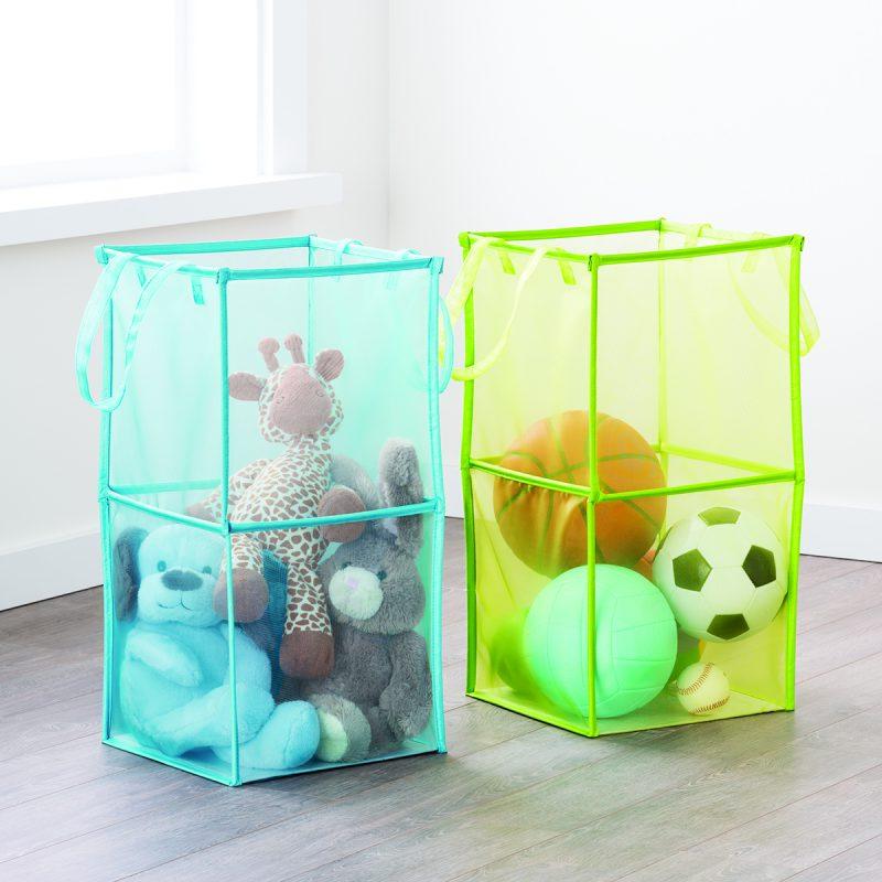 Double folding mesh toy storage ideas