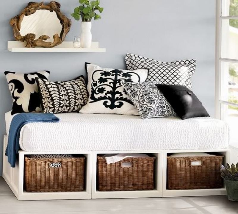 re purposed bed into storage