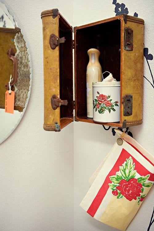 suitcase into vanity holder