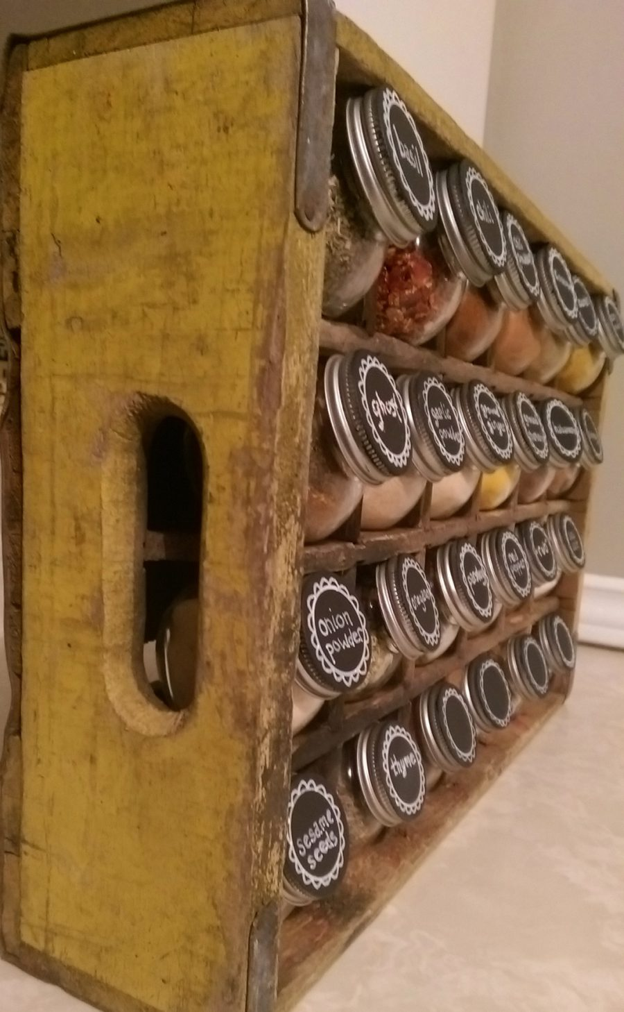 wooden crate spice rack