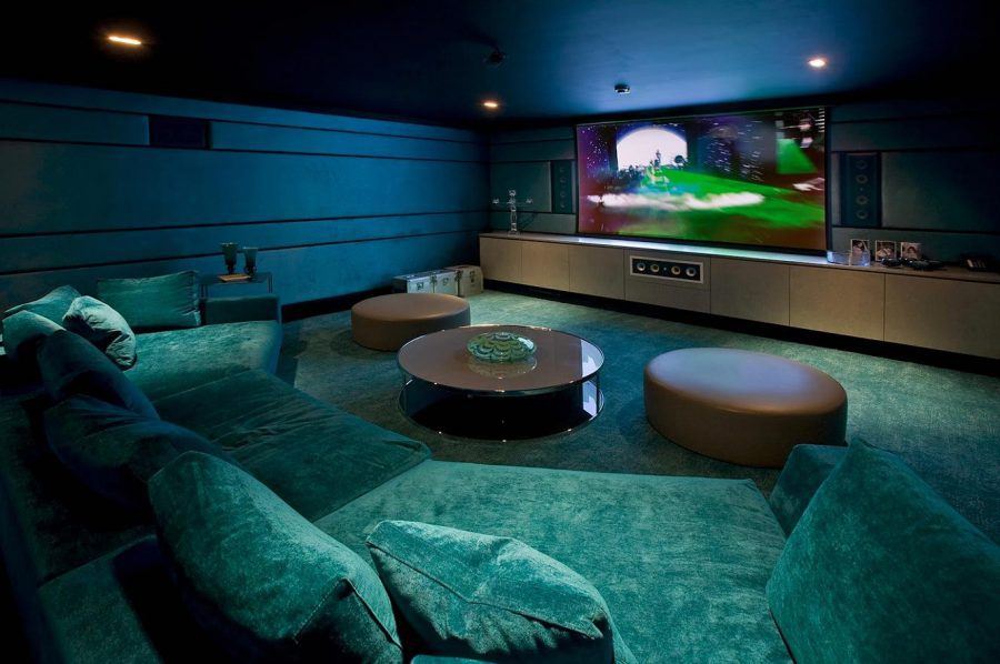 Basement Media Room Design With Turquoise Color