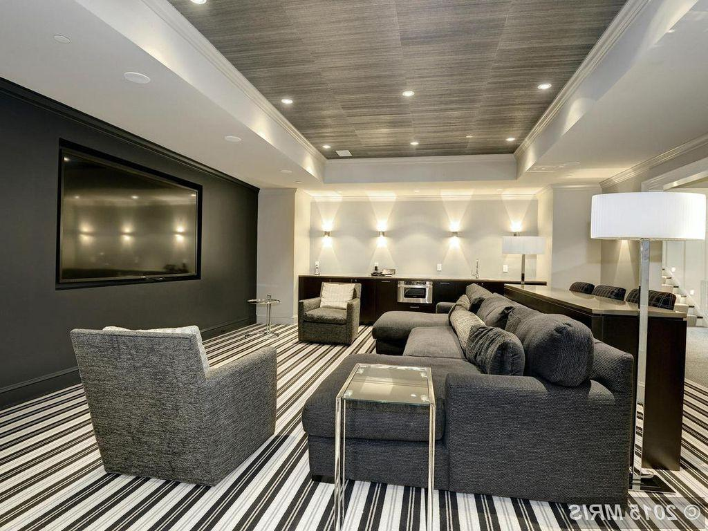 Contemporary Home Theater With Crown Molding Design