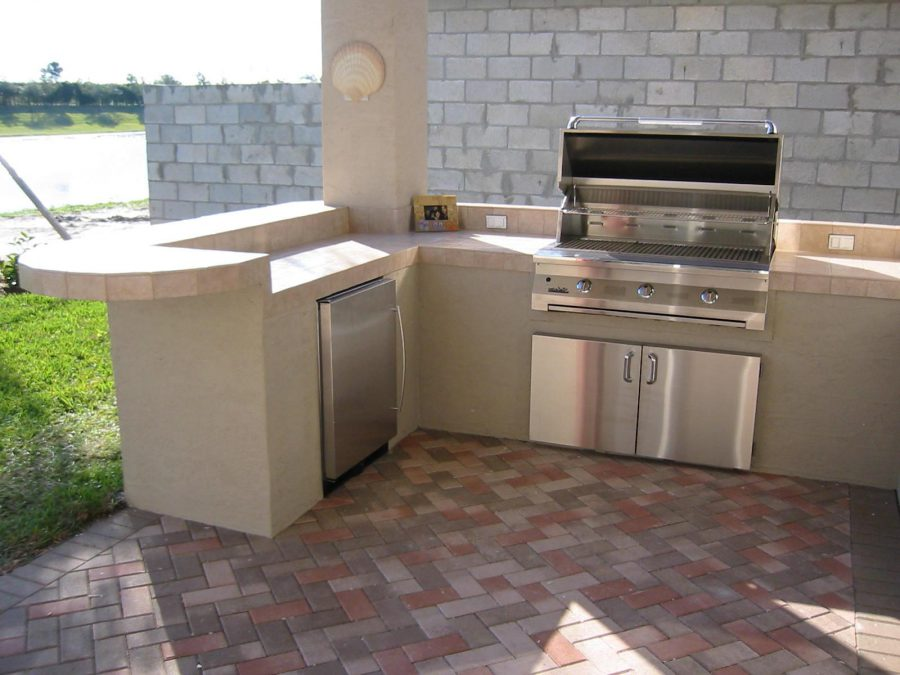 L Shaped Outdoor Kitchen Cabinet