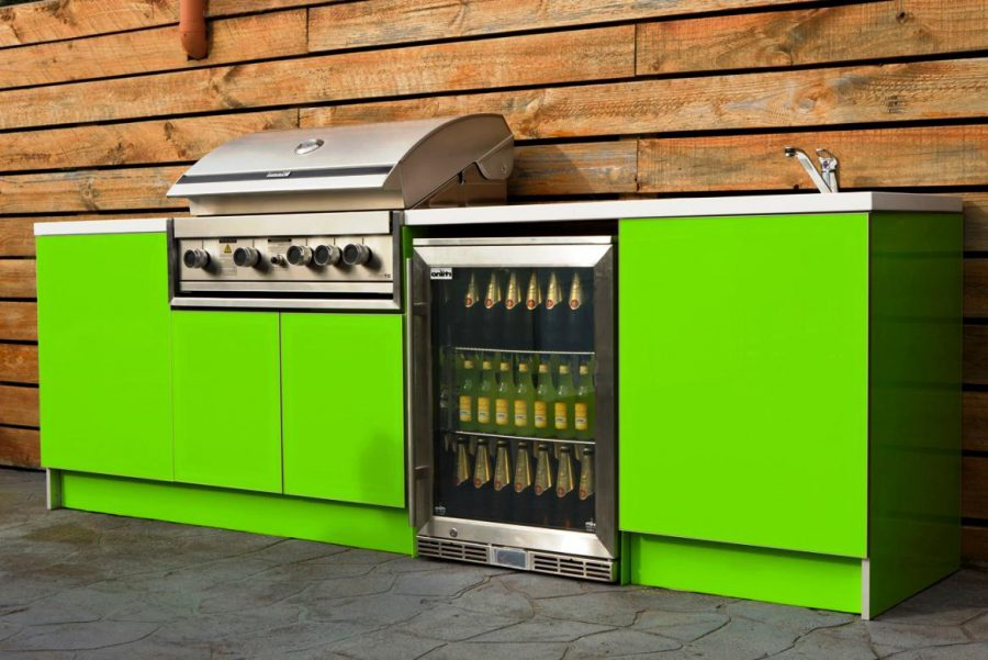 Lime Green Outdoor Kitchen Cabinet