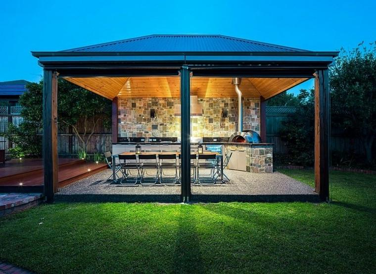Outdoor Kitchen Cabinet With Pergola and Glass Doors