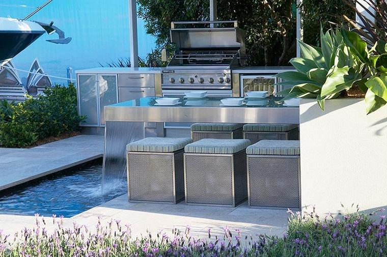 Outdoor kitchen with steel furniture