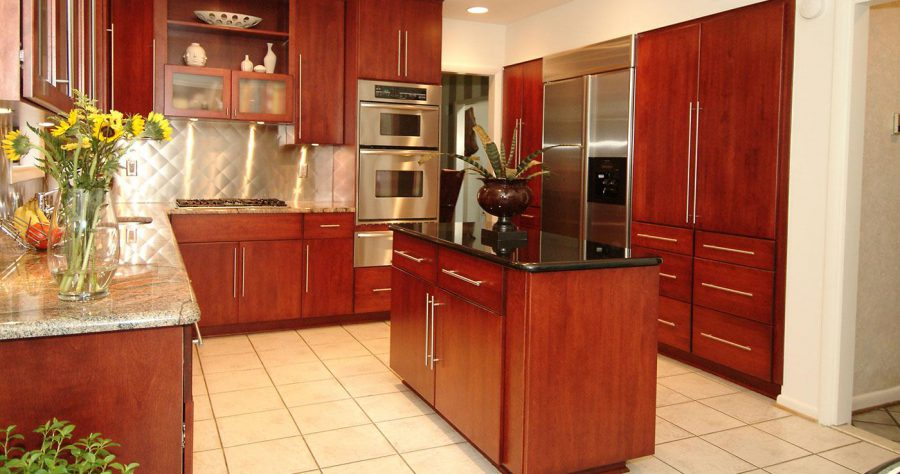 Red Wood Kitchen Cabinet Refacing