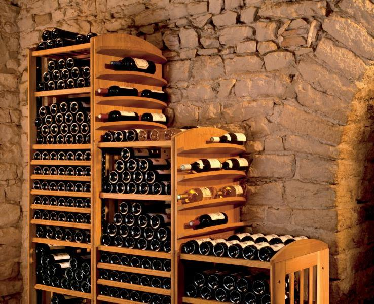 Shelving with usual wine shelves