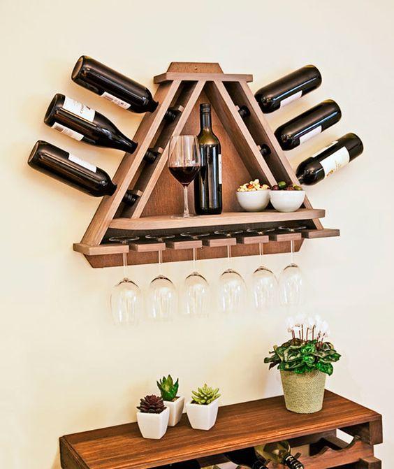 Triangular Wine Shelves